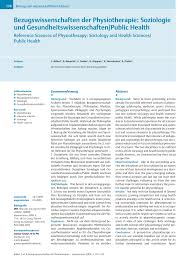Individuelle K Hen Bezugswissenschaften Der Physiotherapie Soziologie Und
