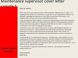 building maintenance supervisor cover letter