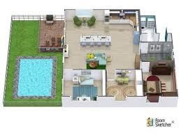 Easy 3d Home Design Free Aerial View Of A 3d Floor Plan For A One Bedroom House With