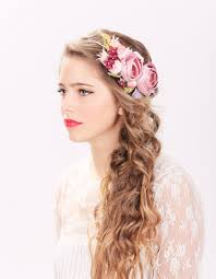 flower hair bridal flower hair crown woodland wedding pink flower milinery