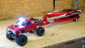 rc adventures beast 4x4 with a cormier boat trailer traxxas