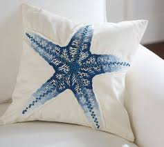 Starfish Cushion Blue Starfish Embroidered Pillow Cover Pottery Barn