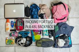 how to travel light images Light packing for the traveling couple a 48 liter backpack for jpg