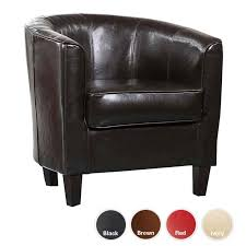 Tub Chair Single Seat Curved Faux Leather Tub Chair