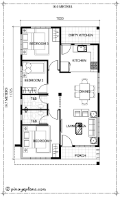 square meters 3 bedroom house plan with total floor area of 80 square meters