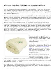 Waterbed Crib Mattress What Are Waterbed Crib Mattress Security Problems