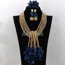 gold crystal beaded necklace images African gold crystal beads necklace bracelet earrings jewelry set jpg