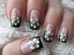 nail art black french manicure with flower and studs beauty