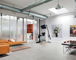 Office Loft Ideas Stylish Home Office In White With Exposed Industrial Pipe On