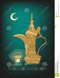 arabic dallah pot with ramadan moon and lamp sketch vector