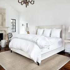Pottery Barn Upholstered Bed Raleigh Wingback Bed U0026 Headboard With Nailhead Pottery Barn