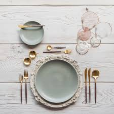gold flatware rental light blue aqua mist casa de perrin