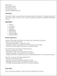 Resume Templates And Examples by Professional Commodity Trader Templates To Showcase Your Talent