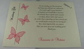 Wedding Inserts Ivory Wedding Inserts Honeymoon Money Gift Poem Personalised