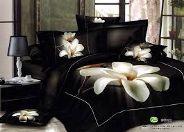 California King Black Comforter 3d White Orchid Comforter Bedding Sets Queen King Size 4pcs Black