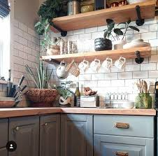 light grey kitchen cabinets with wood countertops grey cabinets open shelving subway tile l wood countertop