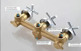 Bathroom Water Outlet Fontana Solid Brass 3 Handles 2 Way Bathroom Shower Valve