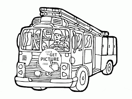 cartoon fire truck coloring page for kids transportation coloring