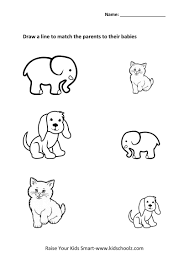 picture matching worksheets animals kidschoolz
