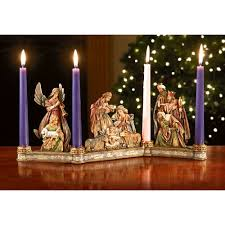 advent candles nativity advent candleholder with candles the catholic company