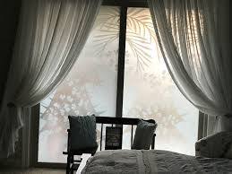 tropical oasis privacy window film frosted sliding glass door