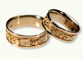 engraved wedding rings custom mountain range wedding bands affordable unique gold ring