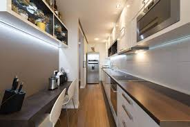 galley kitchen with breakfast bar and led lighting make a galley