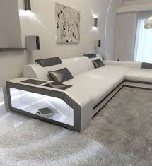 Modern L Sofa Furniture Modern L Shaped Sofa Dallas With Led Lights As