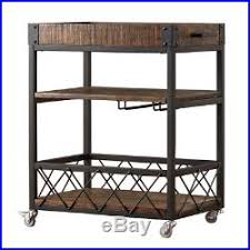serving buffet wheel cart wood iron removable tray wine plate rack