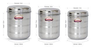 buy shubham kitchen storage steel container 3 pcs set 300 to 525