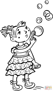 little blowing bubbles coloring page free printable