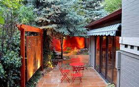 mile high landscaping colorado red flagstone cafe patio rusted