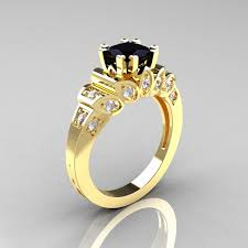 gold diamond engagement ring classic 14k yellow gold 1 23 ct black and white diamond