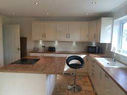 high gloss cream shaker style oak laminate effect worktop total