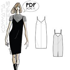 pattern art pdf dr308 slip dress with fine straps pdf sewing pattern by kommatia