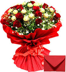roses bouquet buy send order ferrero rocher chocolates n roses bouquet