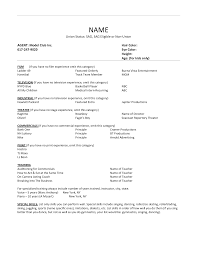 Resume Template For Bartender No Experience Child Acting Resume Template No Experience Resume For Your Job