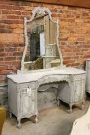 The Brick Vanity Table Tri Folding Mirror White Vanity Table Set Makeup Dresser Table 7