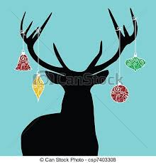 christmas reindeer christmas reindeer silhouette with decorations hanged from