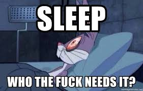 Can T Sleep Meme - sleep who the fuck needs it bunny can t sleep meme generator