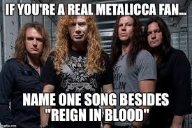 Blood Meme - if you re a real metalicca fan name one song besides reign in
