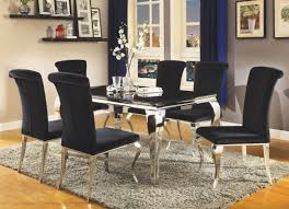 steel dining table set carone stainless steel dining room set from coaster furnitureetc