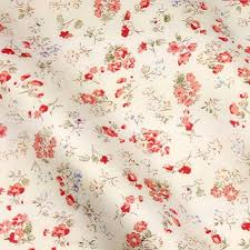 shabby chic beige with red flowers printed cotton fabric twill