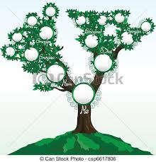 family tree with place for photos or names vector clip