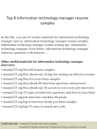 Technology Manager Resume Resume Of Information Technology Free Resume Example And Writing