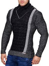 men stylish 2 line mock neck zipper sweater black