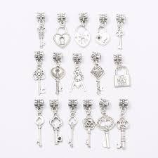 silver beaded charm bracelet images Buy 2017new mix 16pcs key charm tibetan silver jpg