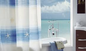 themed shower curtains for relaxing in bathroom