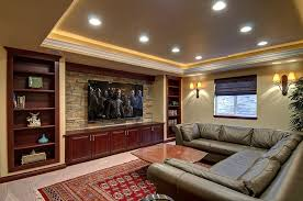 Sofa Movie Theater by Light Brown Interior Color Exposed Stone Wall Basement Movie