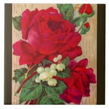 vintage red roses ceramic tiles zazzle